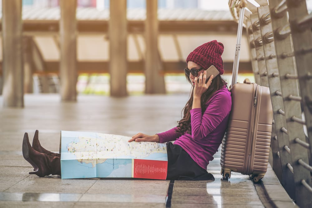 holiday travel tips stressed airport girl